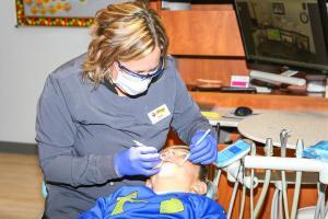 Jamie checking teeth
